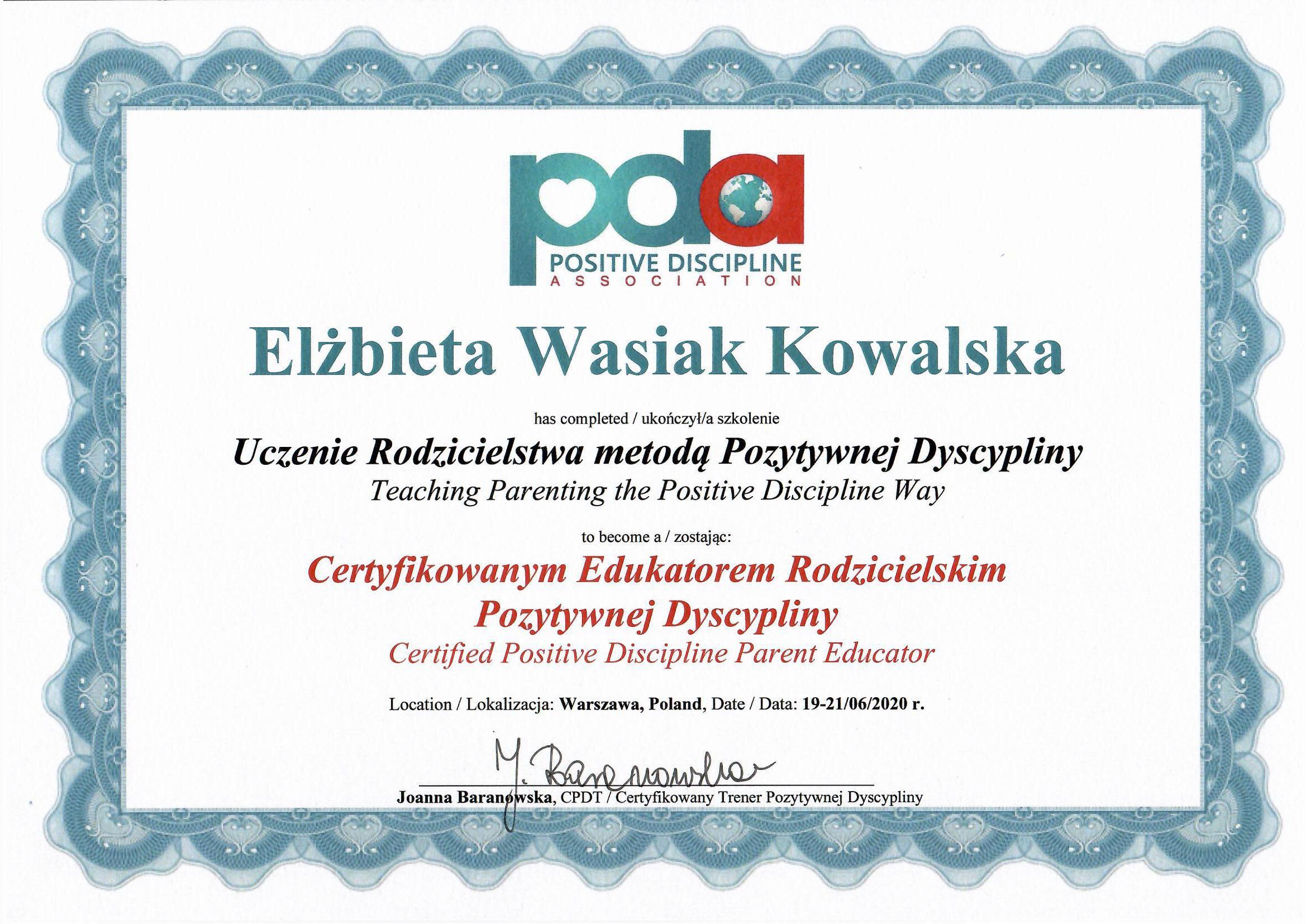 Certyfikat Edukatora Rodzicielskiego Pozytywnej Dyscypliny